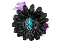 Nick's Bows Black & Purple Feather w Blue Torso Cameo Edgar Allen Poe Hair Clip