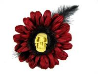 Nick's Bows Burgundy & Black Feather w 3D Skull Cameo Edgar Allen Poe Hair Clip