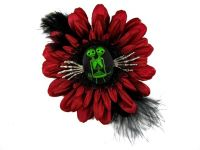 Nick's Bows Burgundy & Black Feather w Green Conjoined Twins Cameo & Silver Hands Edgar Allen Poe Hair Clip