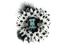 Nick's Bows White PolkaDot & Black Feather w Blue Conjoined Twins Cameo & Silver Hands Edgar Allen Poe Hair Clip