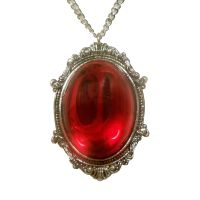 Gothic Blood Red Cabochon in Victorian Frame Pewter Necklace