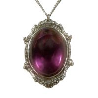 Gothic Purple Cabochon in Victorian Frame Pewter Necklace