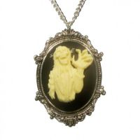 Gothic Zombie Cameo Ivory on Black in Frame Pewter Necklace
