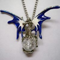 Blue & White Dragon Holding Crystal Orb Necklace