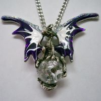 Purple & White Dragon Holding Crystal Orb Necklace