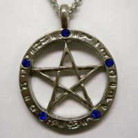 Pentacle with Blue Stones Necklace