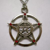 Double Pentacle with Red Stones Necklace