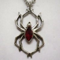 Spider w Red Stone Necklace