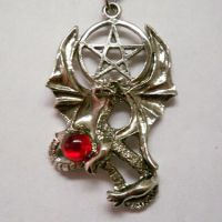 Dragon Necklace w Pentacle Holding Crimson Orb