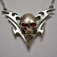Skull w Red Eyes Chevron Necklace