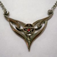 Pentacle w Wings & Red Stone Necklace
