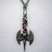 Skull Axe w Thorns & Red Jewel Necklace