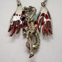 Red & White Hand Painted Dragon Necklace