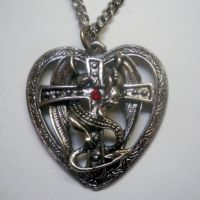 Dragon Surrounding Cross in Heart Necklace