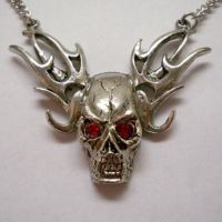 Skull on Flames w Red Eyes Necklace