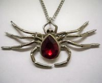Sprawling Spider with Red Stone Body Necklace