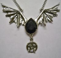 Pentacle w Wings & Black Stone Necklace