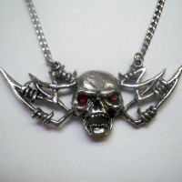 Barbed Wire Winged Skull w Red Eyes Necklace