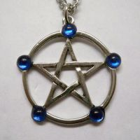 Pentacle w Blue Stones Necklace