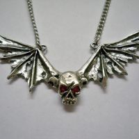 Distressed Wings Skull w Red Eyes Necklace
