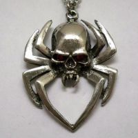 Spider w Skull Body Necklace