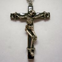 Skeleton on Cross Necklace