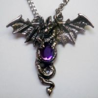 Entwined Dragon w Amethyst Stone Necklace