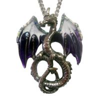 Purple & White Hand Painted Dragon Necklace