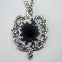Black & White Rose Cameo Necklace