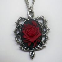 Red and Black Rose Cameo Necklace