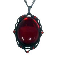 Blood Red Cabochon Set in Matte Black Frame Necklace
