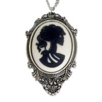 Large Black on White Lolita Cameo in Frame Necklace