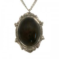 Gothic Black Cabochon in Victorian Frame Pewter Necklace