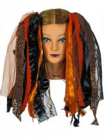 Orange and Black Gothic Halloween Ribbon Hair Falls by Dreadful Falls