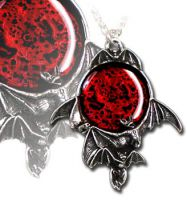 Alchemy Gothic Blood Moon Pendant Necklace