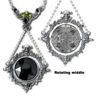 Alchemy Gothic The Obsidian Mirror Pendant Necklace