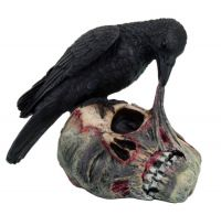 Raven Eating Dead Zombie Skull Head Statue