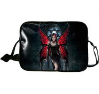 Gothic Black and Red Butterfly Black Widow Fairy Aracnafaria Side Bag by Anne Stokes