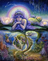 Pisces Zodiac Collector's Card by Josephine Wall