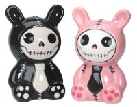 Bun Bun Furrybones Black and Pink Salt and Pepper Shakers