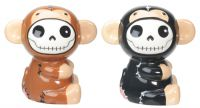 Munky Furrybones Brown and Black Salt and Pepper Shakers