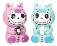Unie Furrybones Pink and Blue Salt and Pepper Shakers