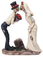 Love Never Dies Wedding Skeleton Roses Wedding Cake Topper