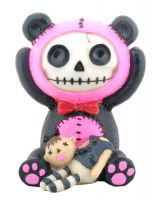 Pink Pandie Furry Bones Skellies Figurine