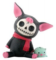 Black Bacon Furry Bones Skellies Figurine