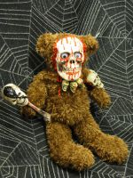 Brown Teddy Tiki Skeleton Skull Scare Bear