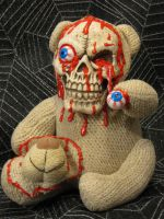 Knit Bear Skeleton Face Eye Popping Scare Bear