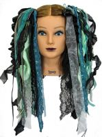 SeaBreeze & Black Gothic Ribbon Hair Falls by Dreadful Falls