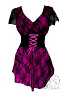 Plus Size Berry and Black Lace Sweetheart Corset Top
