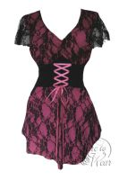 Plus Size Pink and Black Lace Sweetheart Corset Top